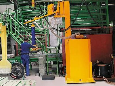 Tehnologie de manipulare pentru fabricile de materiale de constructii: tehnologie pe baza de vid